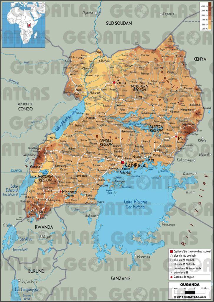 Carte géographique de l'Ouganda