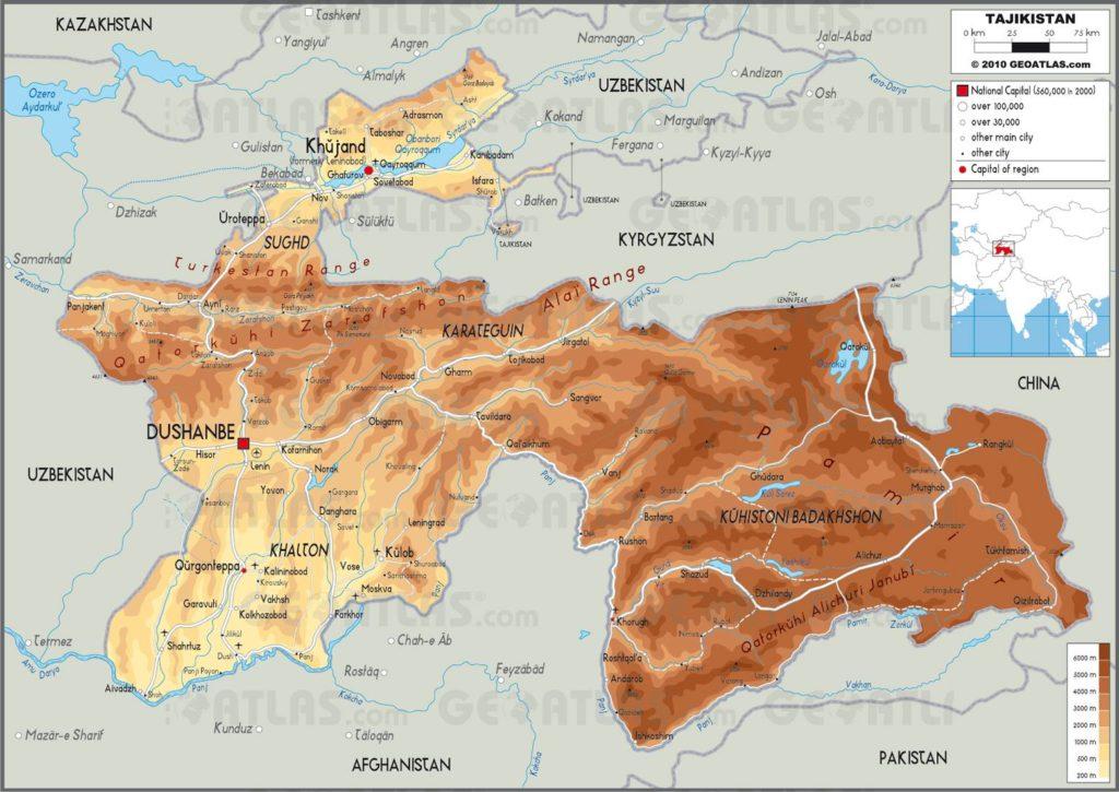 Carte géographique du Tadjikistan