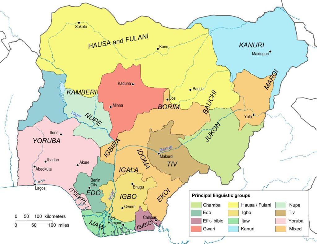 Carte des langues du Nigeria