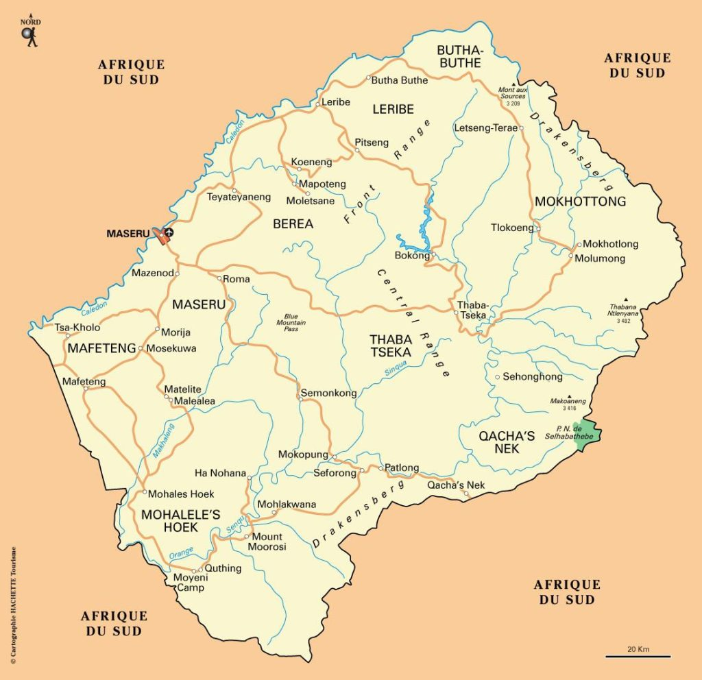 Carte du Lesotho