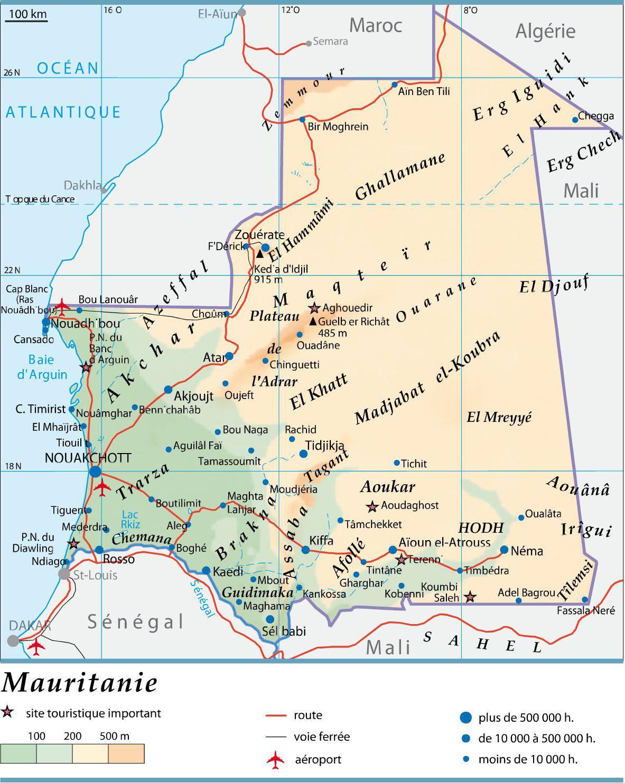 Carte de la Mauritanie   Plusieurs cartes de la Mauritanie