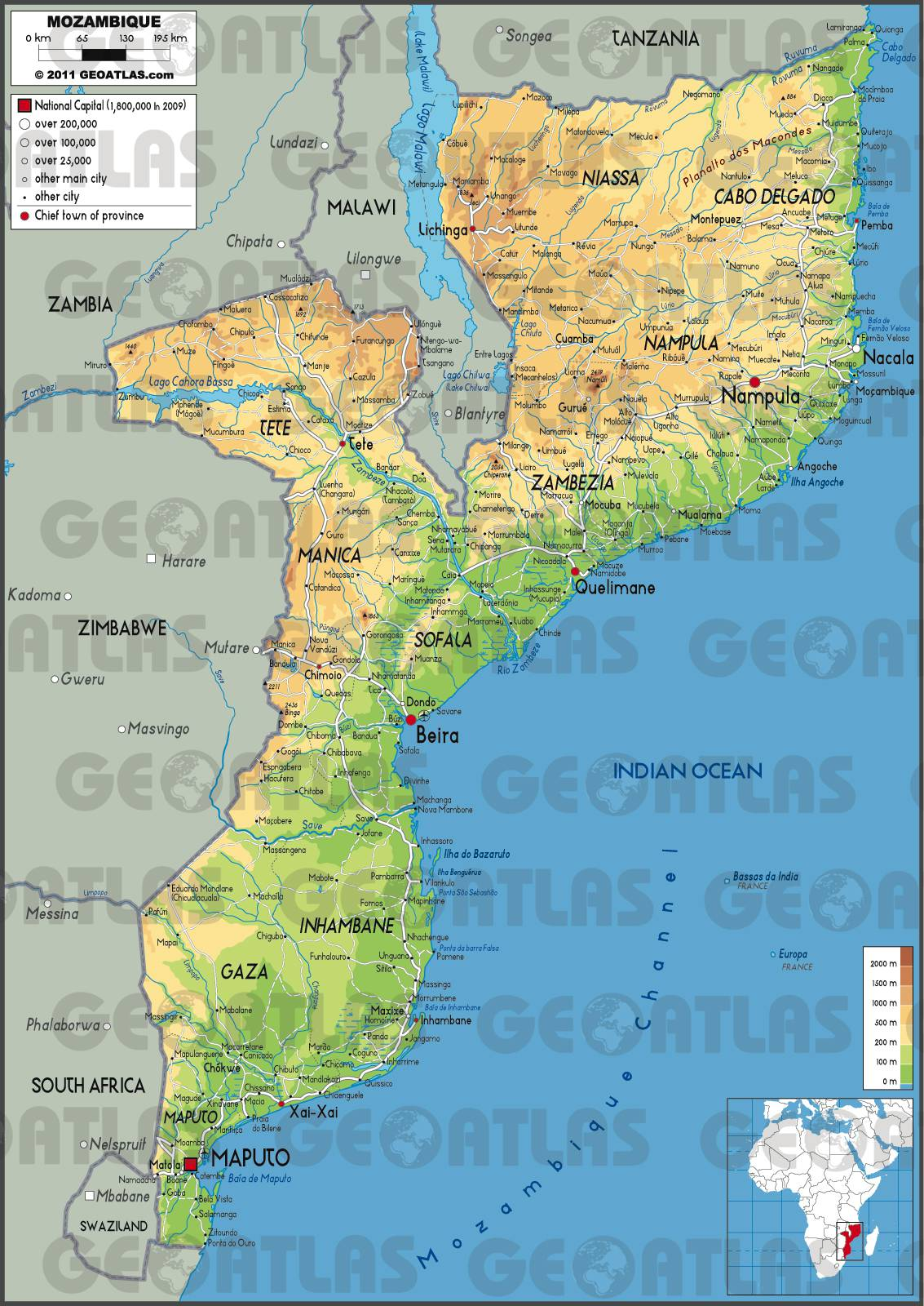Carte du Mozambique