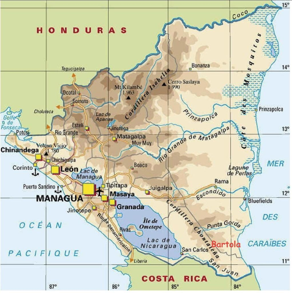 Carte politique du Nicaragua
