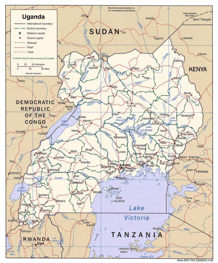 Carte politique de l'Ouganda