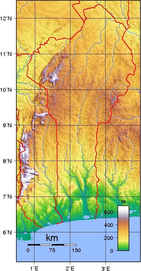 Carte du relief du Bénin