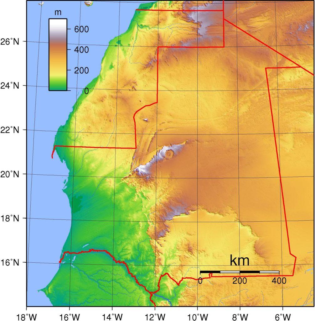 Carte des reliefs de la Mauritanie