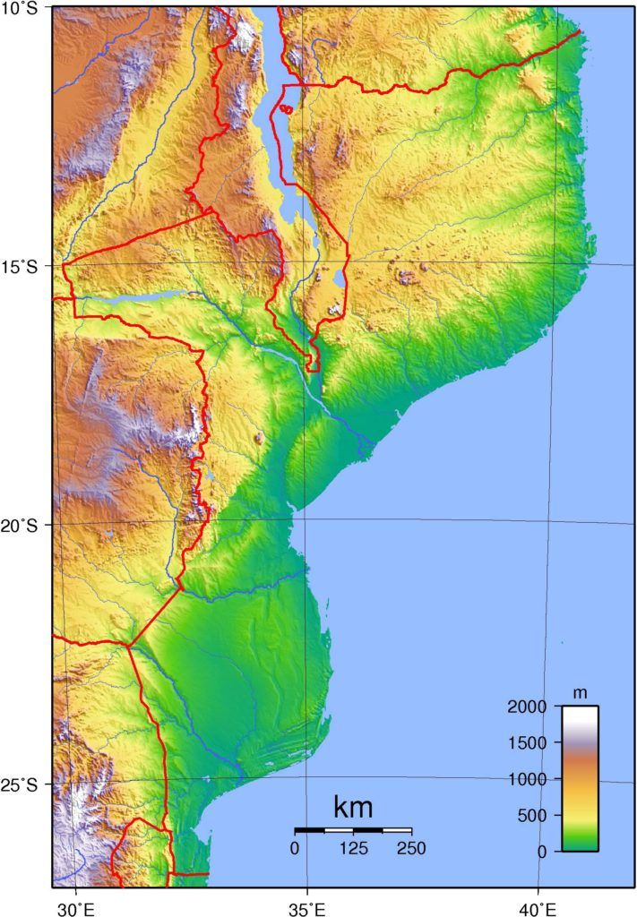 Carte du relief du Mozambique