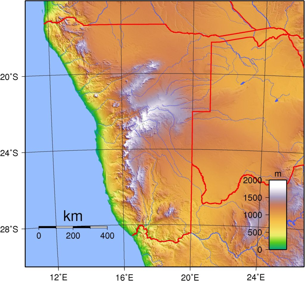Carte du relief de la Namibie