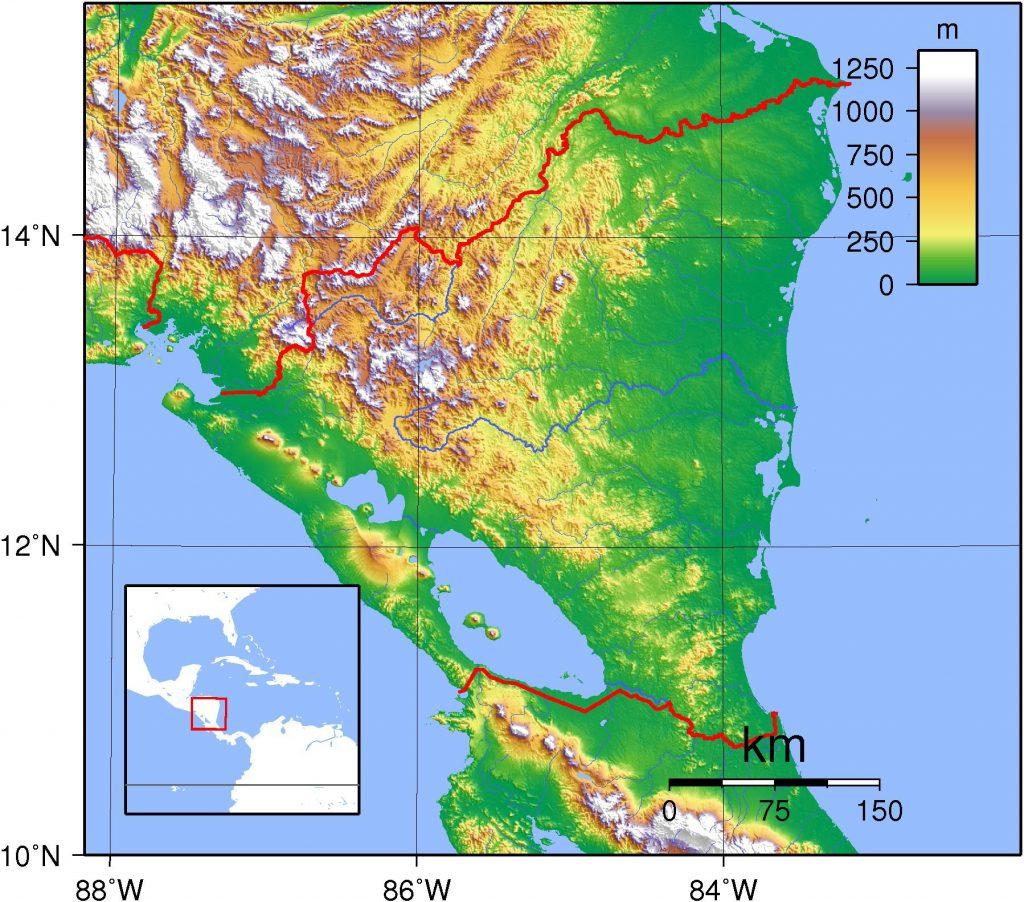 Carte du relief du Nicaragua