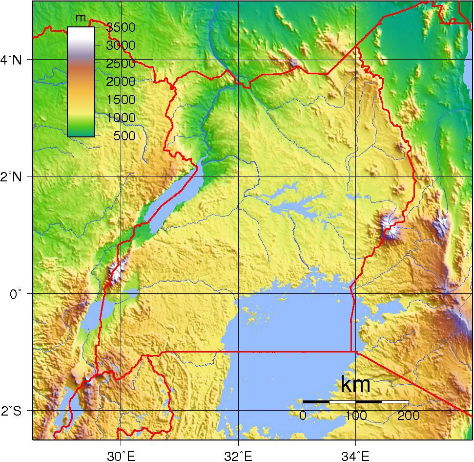 Carte du relief de l'Ouganda