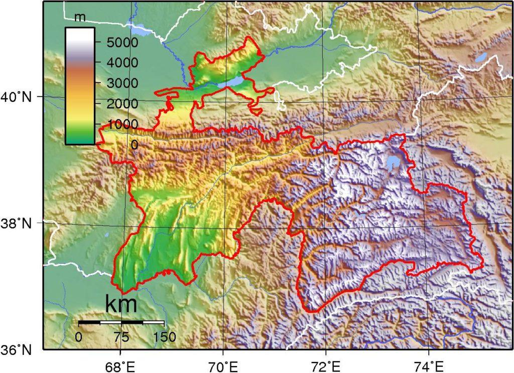 Carte du relief du Tadjikistan