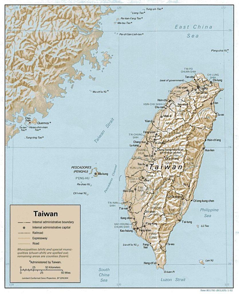Carte du relief de Taïwan