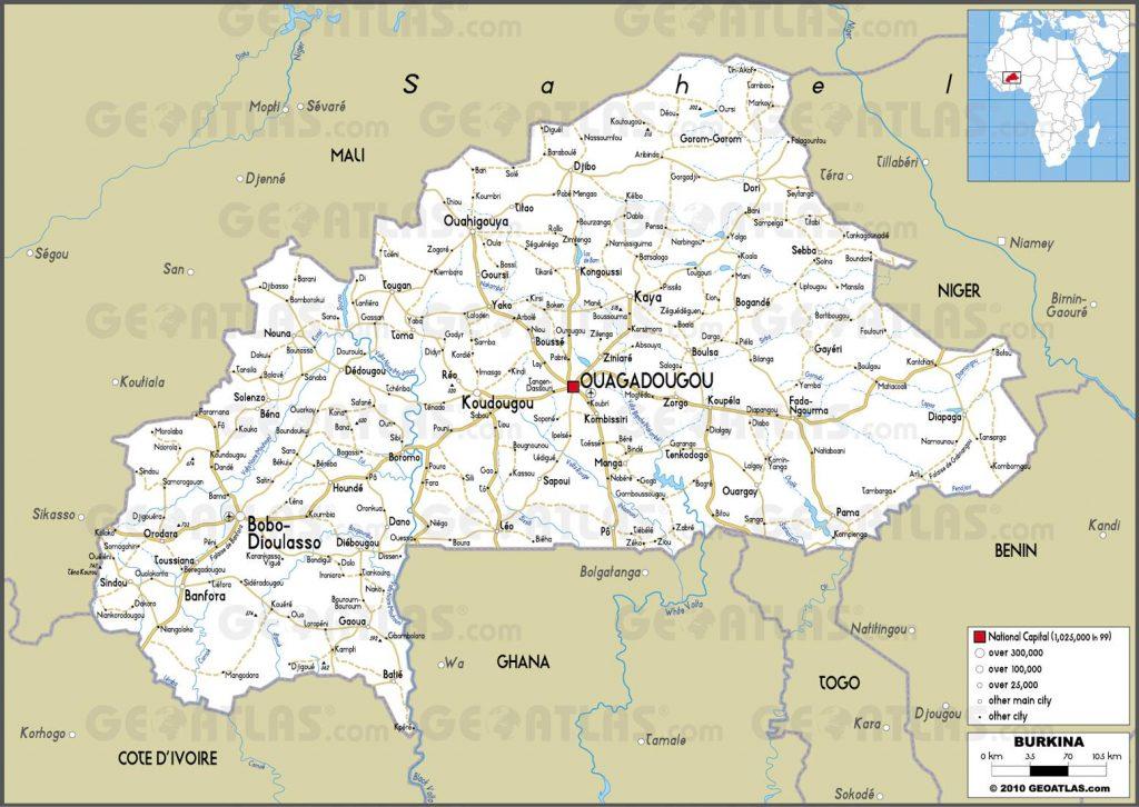 Carte routière du Burkina Faso