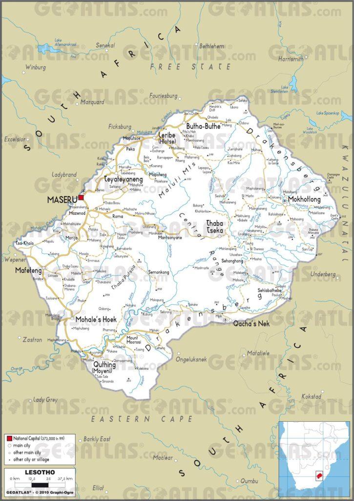 Carte routiére du Lesotho