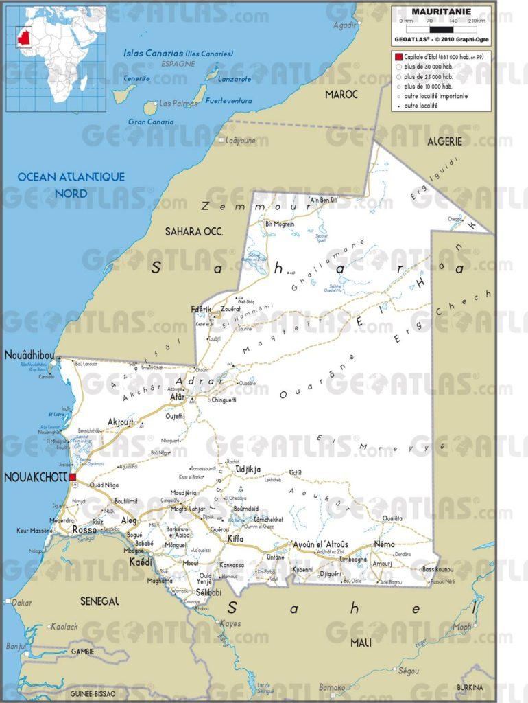 Carte routière de la Mauritanie