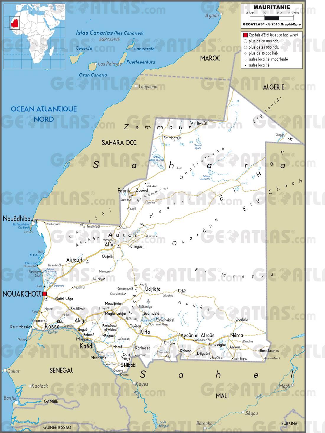 Carte Algerie Mauritanie.Carte De La Mauritanie Plusieurs Cartes De La Mauritanie