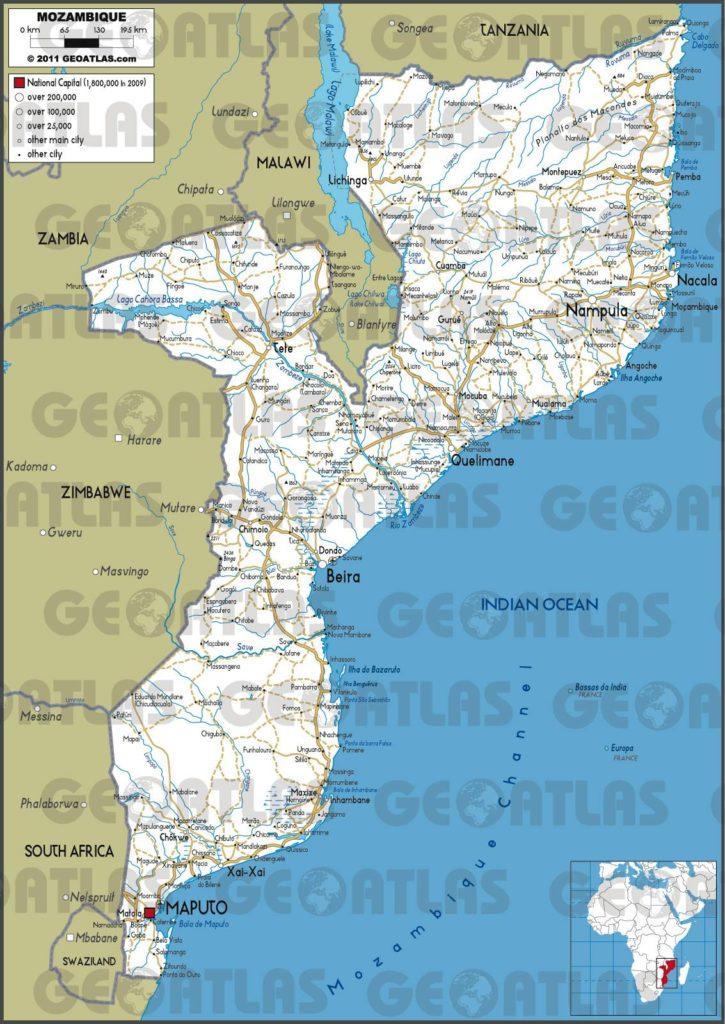 Carte routière du Mozambique