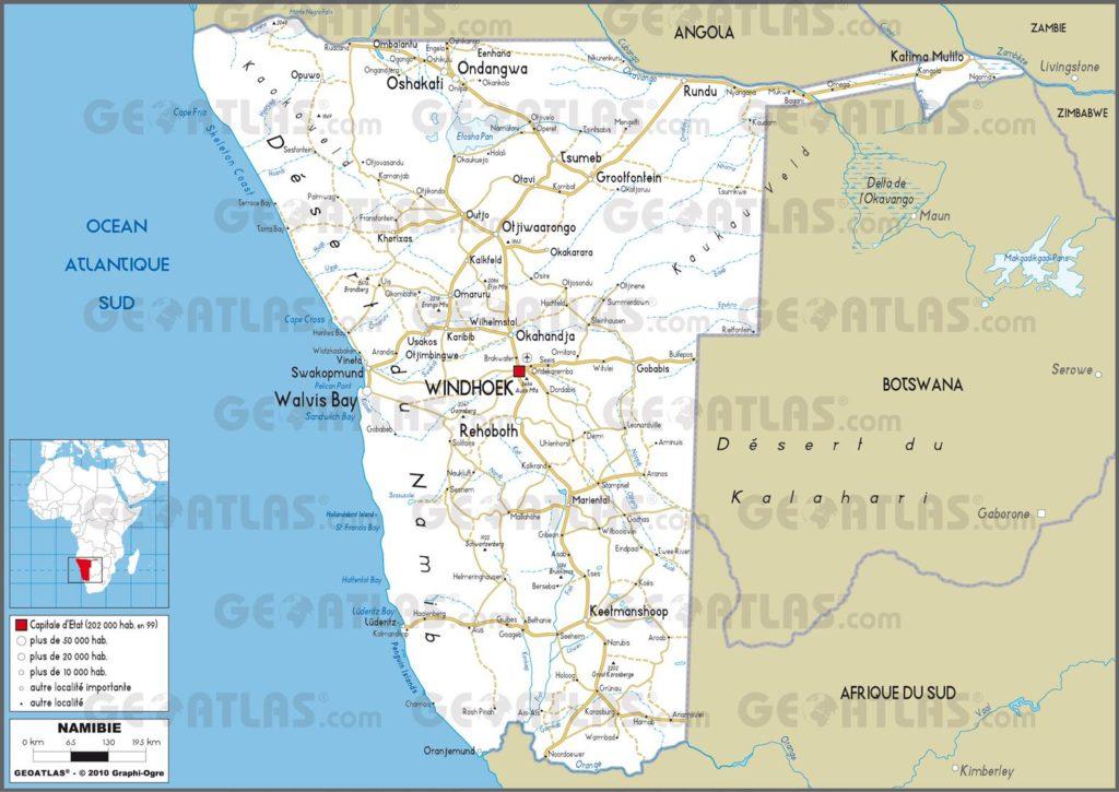 Carte routière de la Nambie