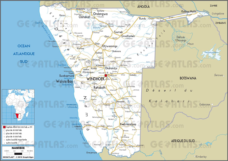 Carte Afrique Du Sud Namibie.Carte De La Namibie Plusieurs Cartes Du Pays En Afrique
