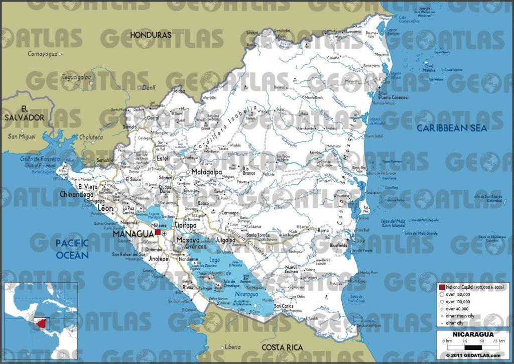 Carte routière du Nicaragua