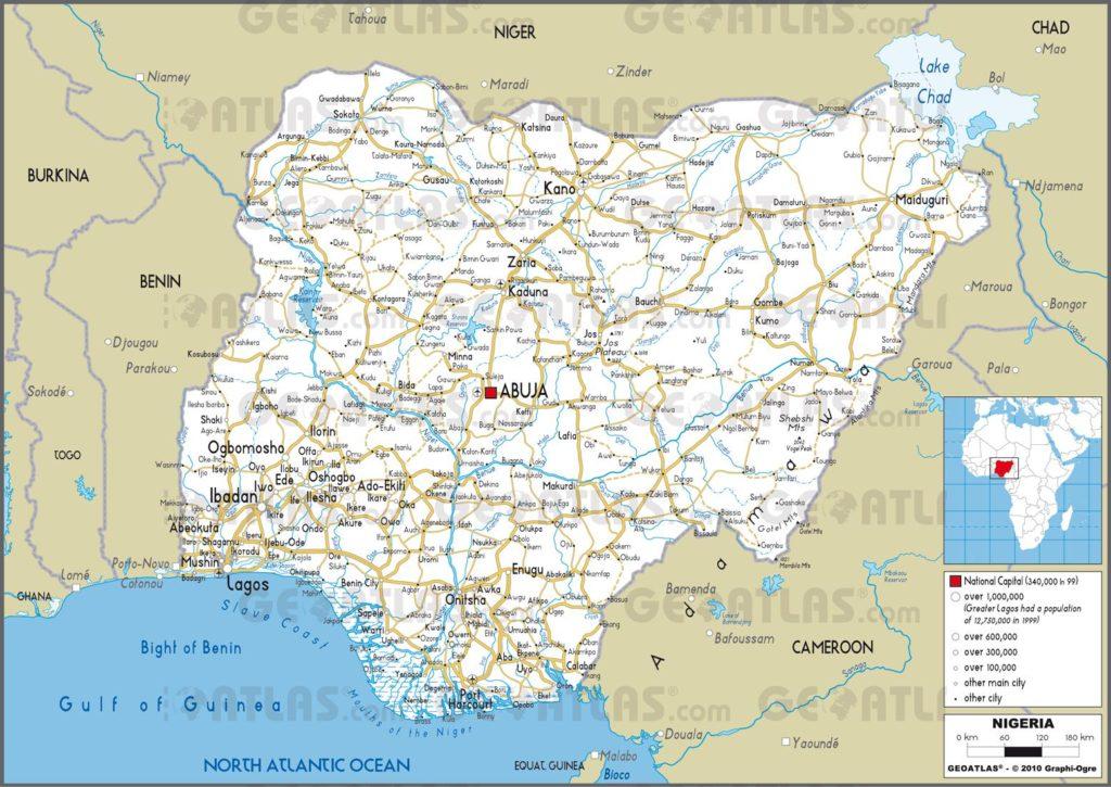 Carte routière du Nigeria