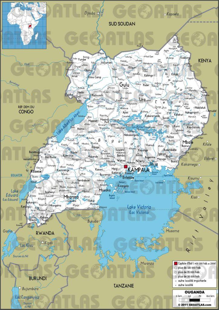 Carte routière de l'Ouganda