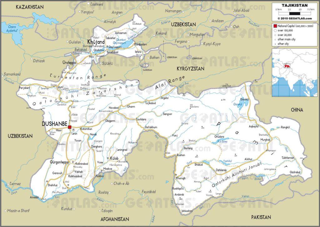 Carte routière du Tadjikistan