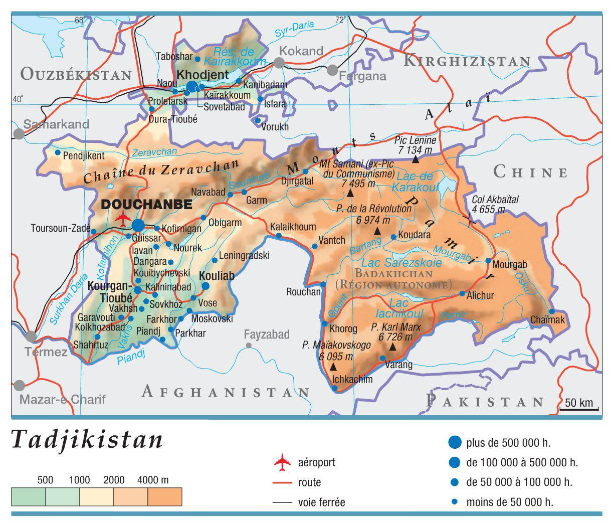 Carte du Tadjikistan
