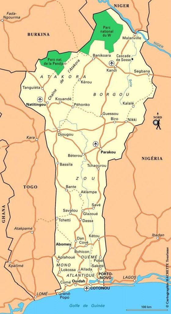 Carte touristique du Bénin