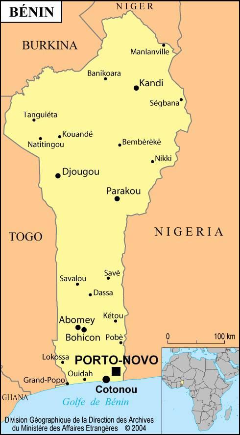 Carte des villes du Bénin