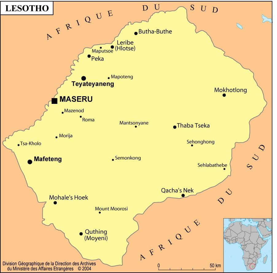 Carte des villes du Lesotho