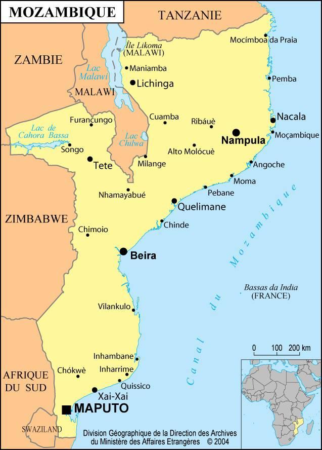Carte des villes du Mozambique