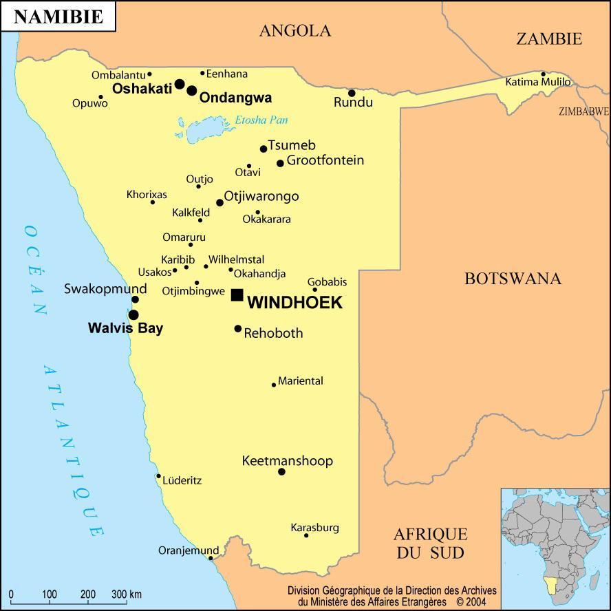 Carte des villes de la Namibie
