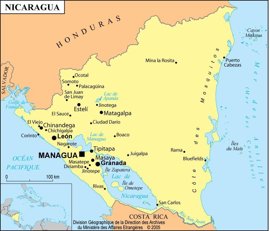 Carte des villes du Nicaragua
