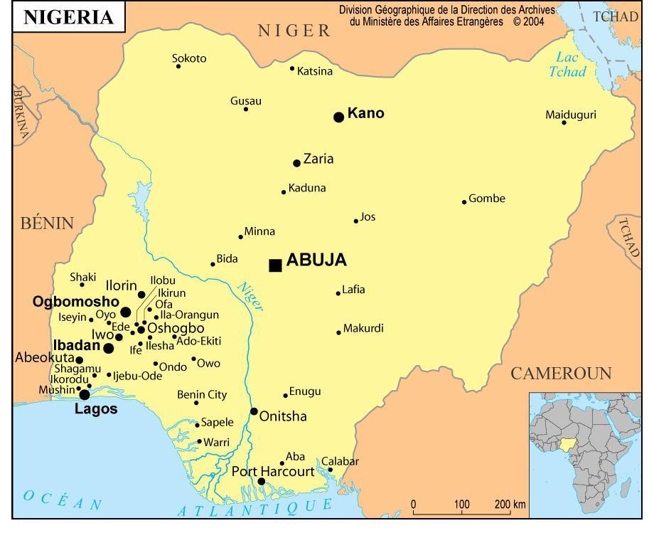 Autre carte du Nigeria