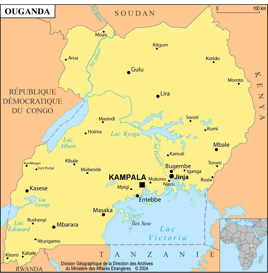 Carte des villes de l'Ouganda