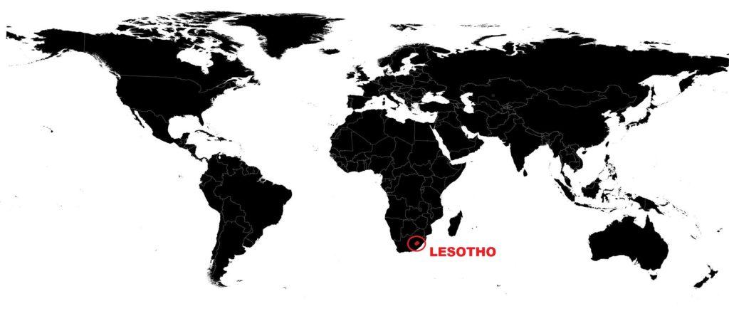 Lesotho sur une carte du monde