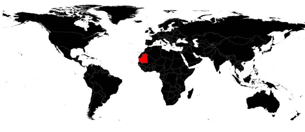 Mauritanie sur une carte du monde
