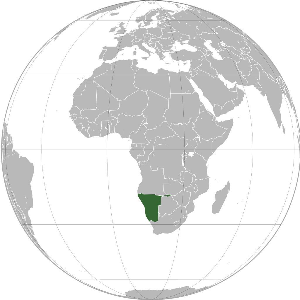 Namibie sur une carte de l'Afrique