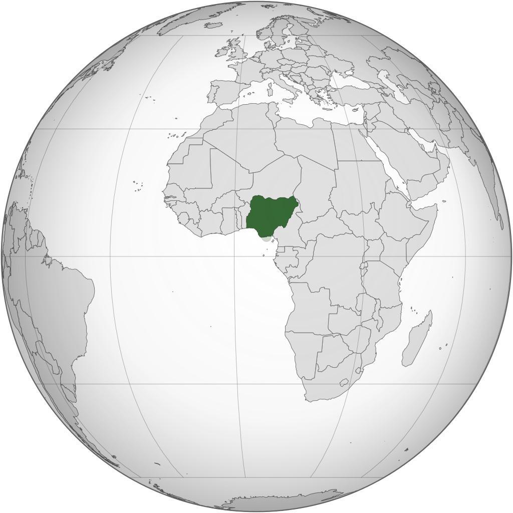 Nigeria sur une carte de l'Afrique