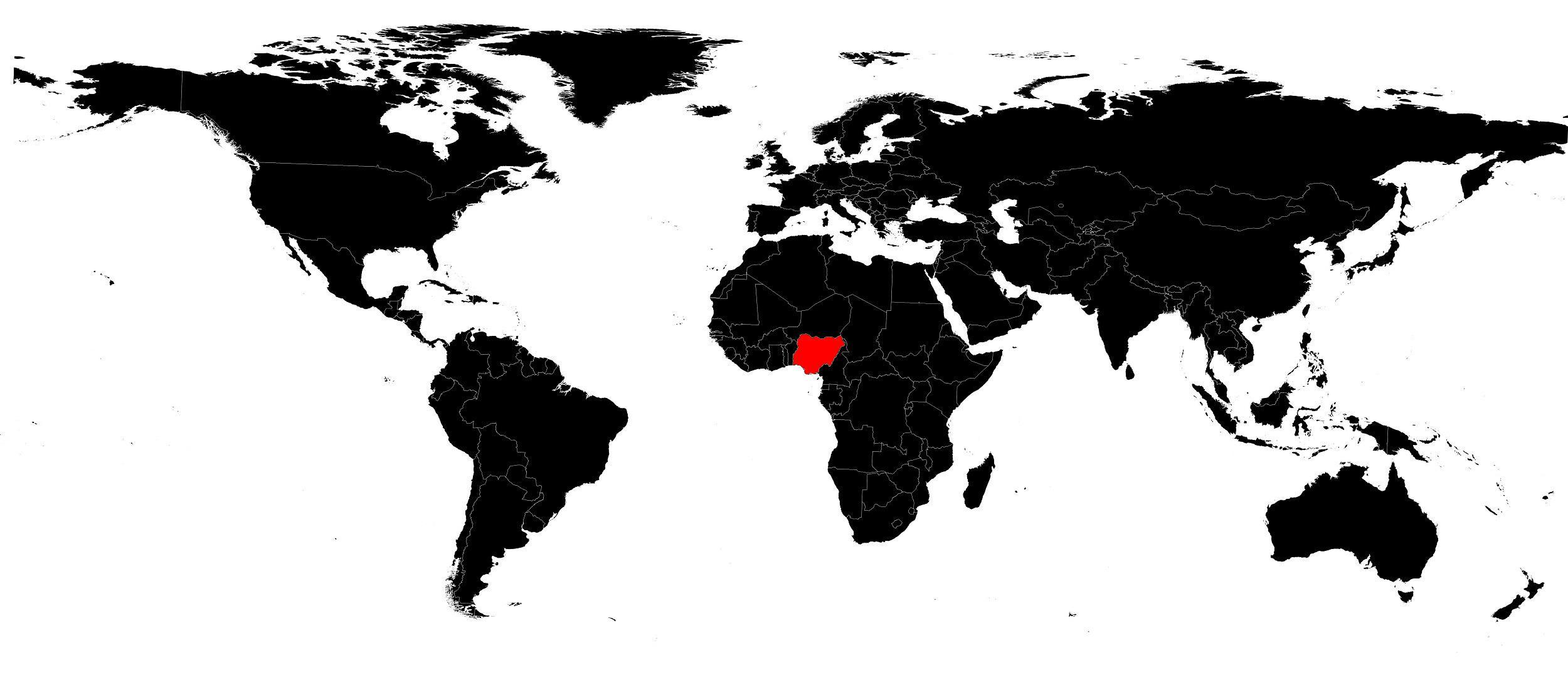 Nigeria sur carte du monde