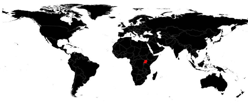 Ouganda sur la carte du monde