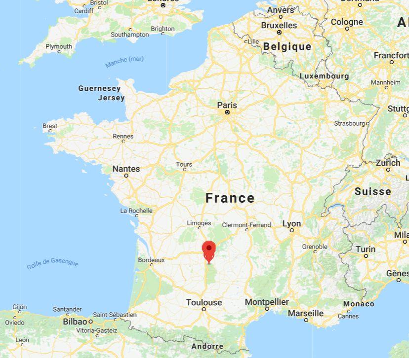 Rocamadour sur une carte de France