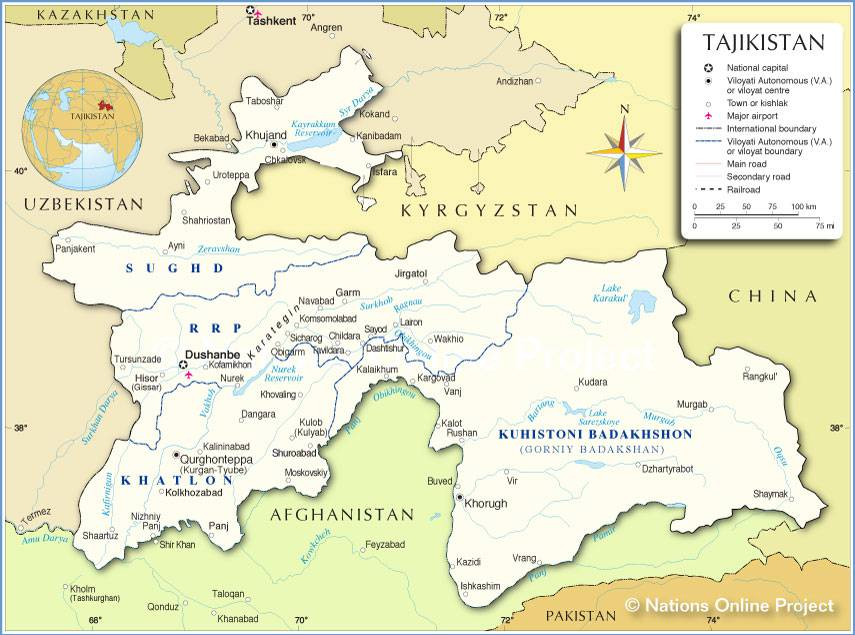 Tadjikistan carte