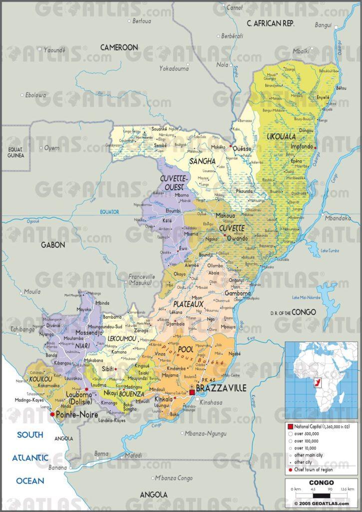 Carte administrative de la République du Congo