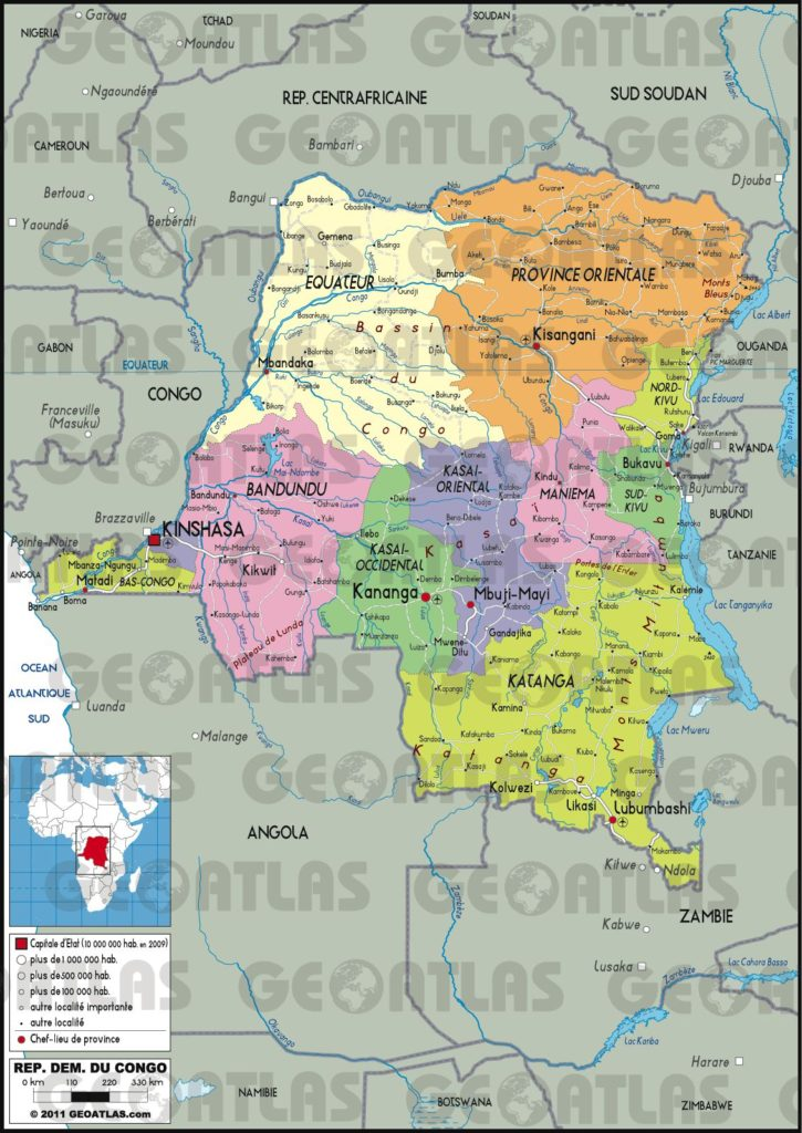 Carte administrative de la République Démocratique du Congo