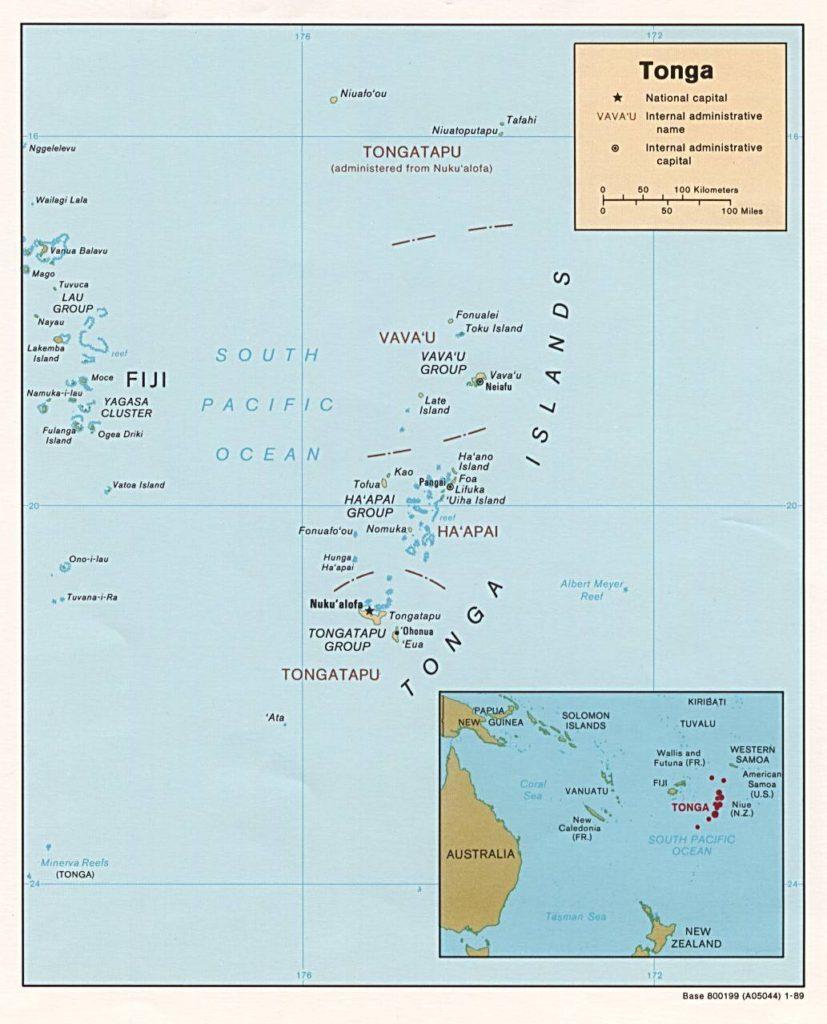 Carte administrative des Tonga