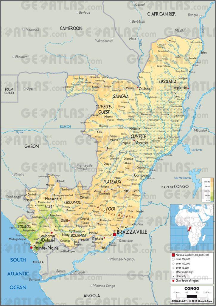 Carte géographique de la République du Congo