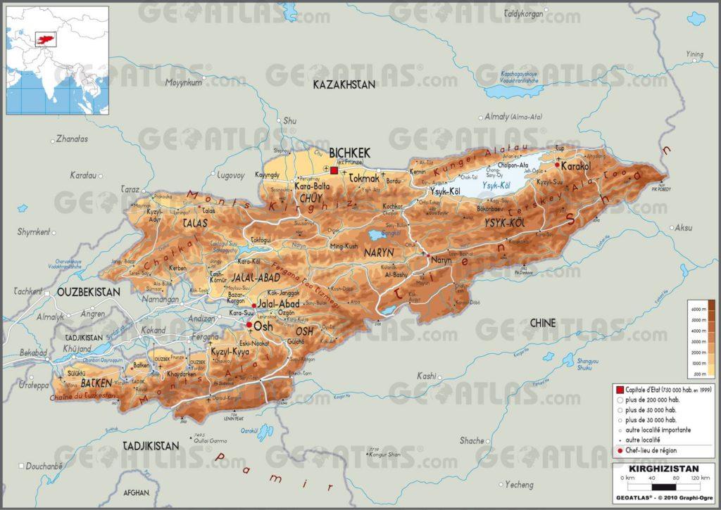 Carte géographique du Kirghizistan