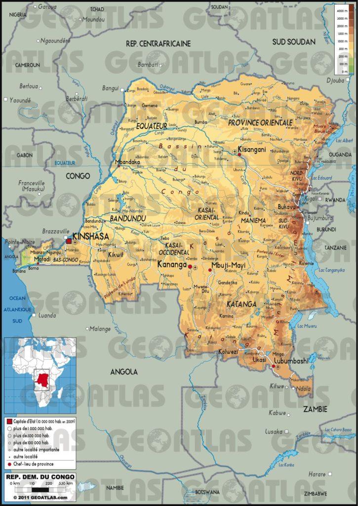 Carte géographique de la République Démocratique du Congo